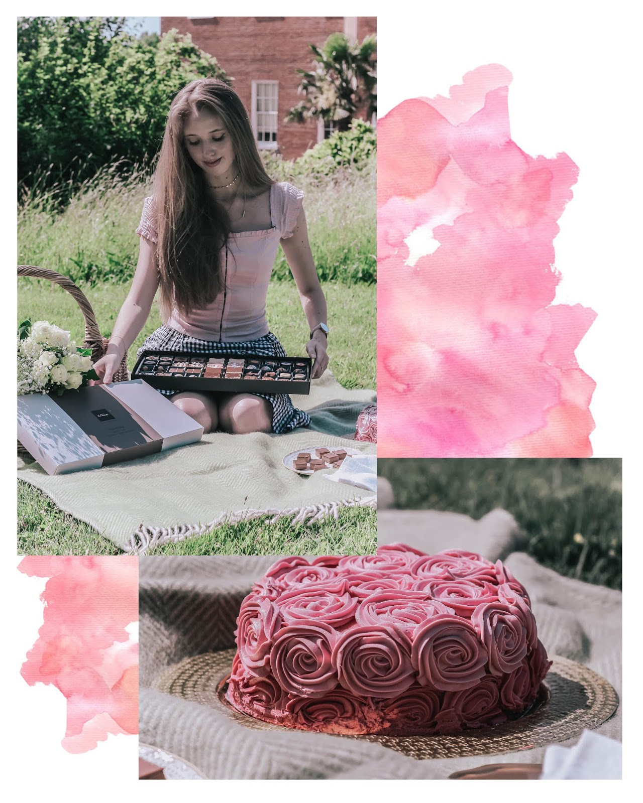 Pretty Pink British Picnic Collage Photoshoot