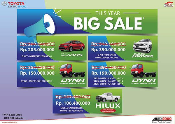 Big Sale Obral Toyota Unit Tahun 2014