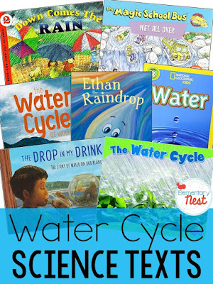 Water Cycle Nonfiction Texts- Activities and Lesson ideas with a FREEBIE- science activities for water cycle in the primary classroom- reading, writing, research, and science experiments.