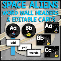 Space Classroom Decor Theme: (EDITABLE in Powerpoint) word wall