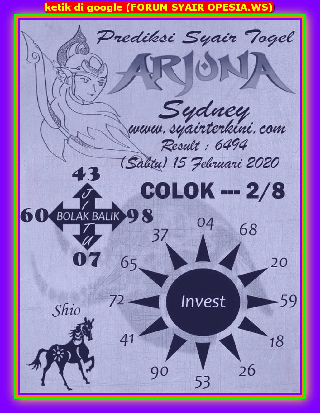 Kode syair Sydney Sabtu 15 Februari 2020 146