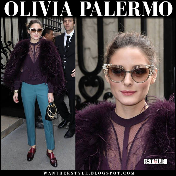 Olivia Palermo in plum fur jacket, plum blouse elie saab and teal pants with burgundy loafers paris fashion week january 24