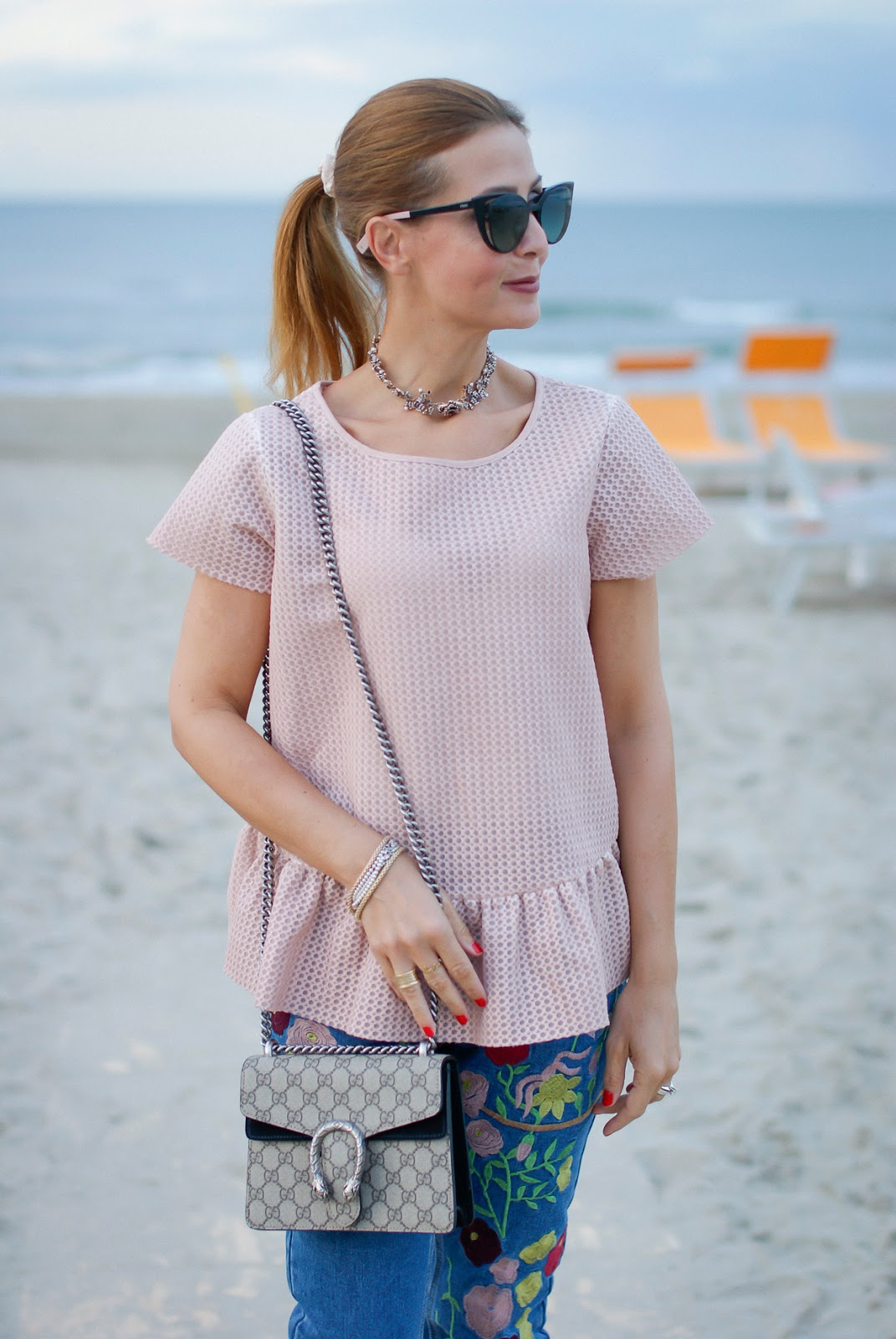 powder pink top and Gucci mini Dionysus bag on Fashion and Cookies fashion blog, fashion blogger style