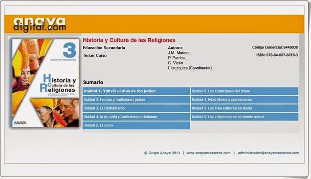 """Anaya Digital: """"Historia y Cultura de las Religiones de 3º de E.S.O."""""""