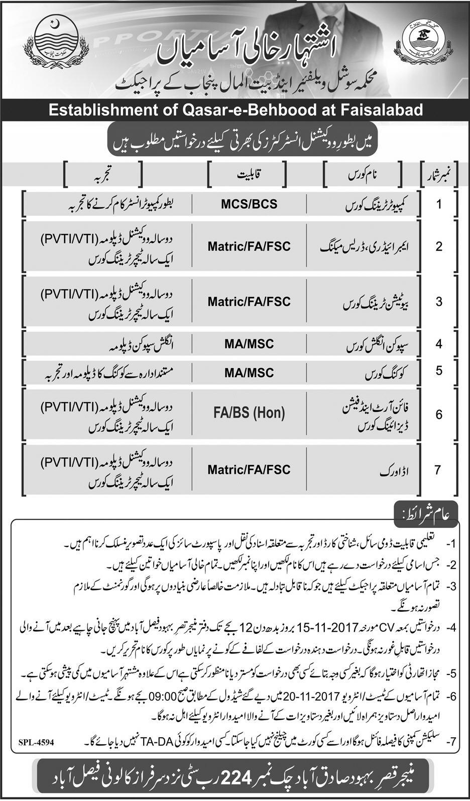 Jobs Social Welfare And Bait Ul Maal Department  Faisalabad November 2017