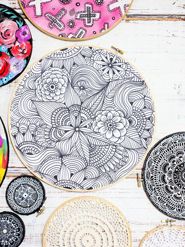 embroidery hoop doodles
