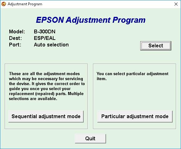 Epson B-300DN Adjustment