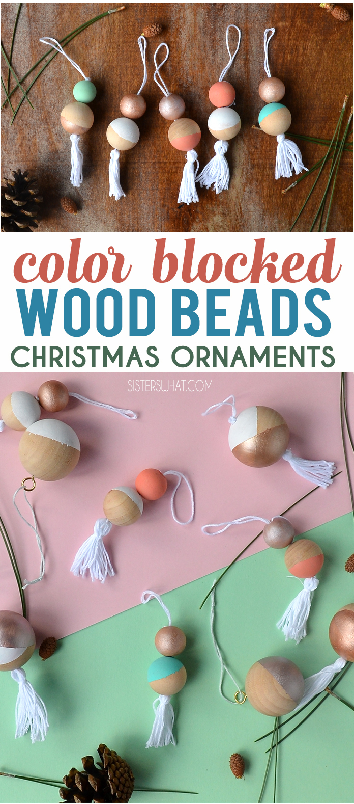 DIY color blocked wood beads Christmas ornaments