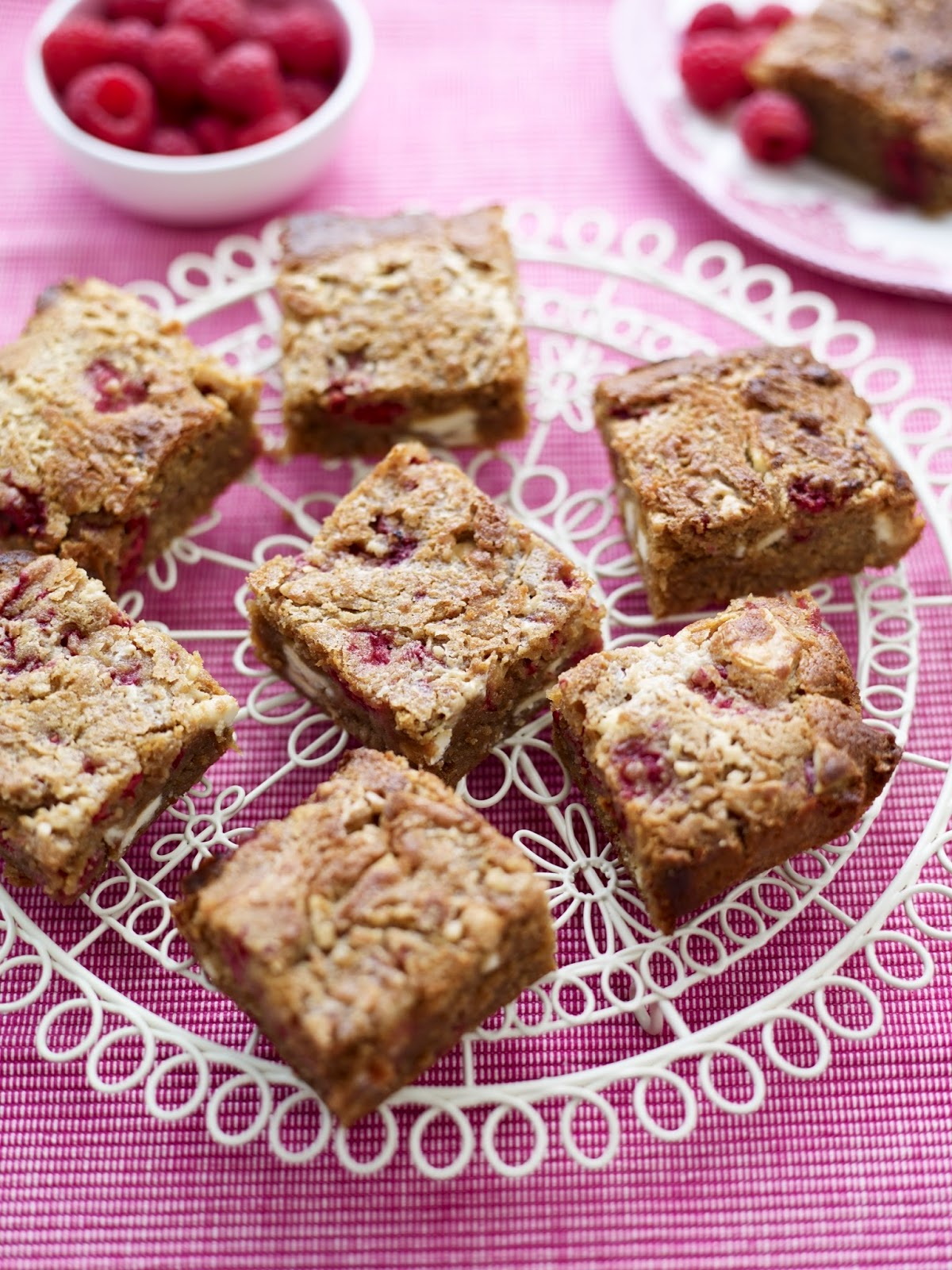 Macadamia And Raspberry Goldies