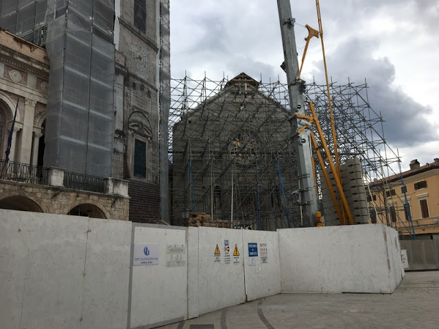 Scaffolding and cranes as Norcia, Italy rebuilds after the 2016 earthquake