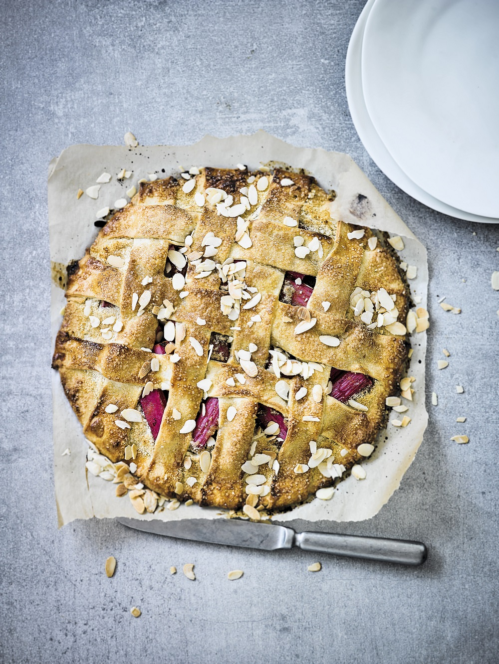 Rhubarb, Almond And Vanilla Galette
