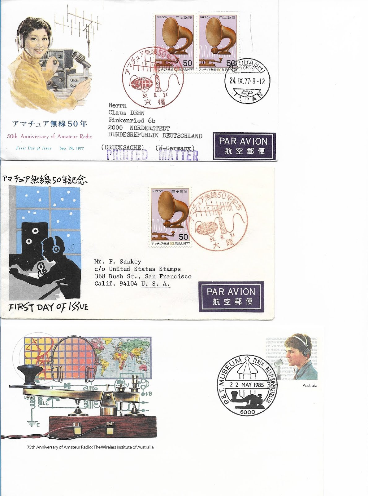 First Day Cover Stamps HAM Radio Japan and Australia