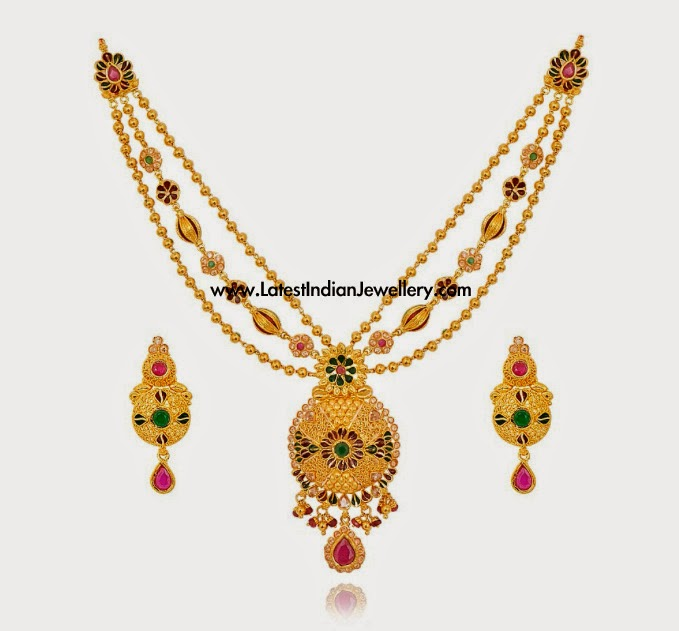 multi colour designer gold necklace