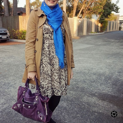 awayfromblue instagram cobalt Louis Vuitton scarf with animal print dress trench coat cold weather office outfit