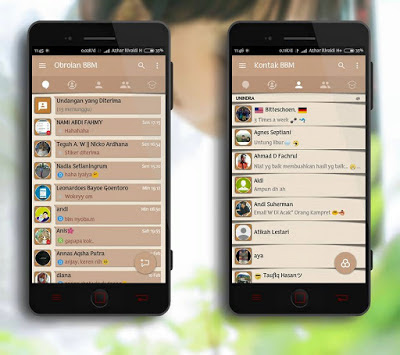 Download BBM Mod Mi-Simple Brown v3.3.0.16 Apk  (Full DP No Crop)
