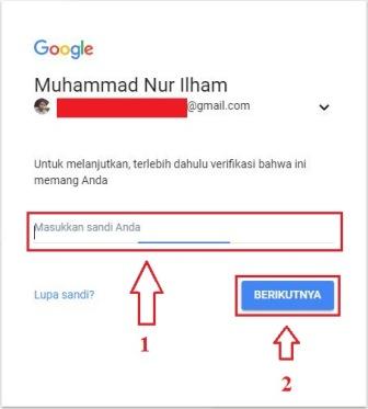 Tampilan kotak dialog verifikasi akun google / gmail