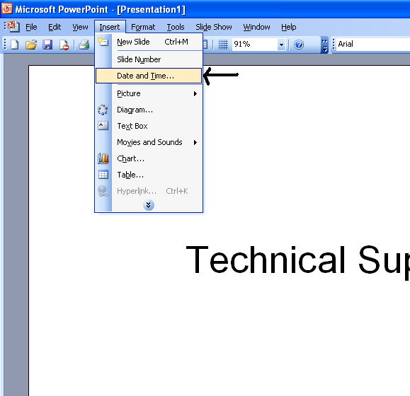 Insert Date And Time In Power Point 2003