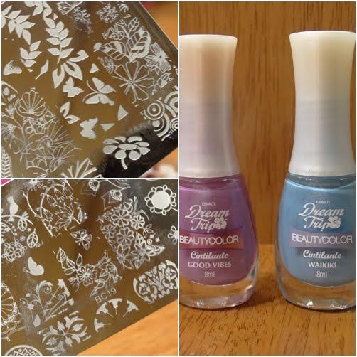 Esmalte Beauty Color Good Vibes e Waikiki + Carimbada BC 16 e 19