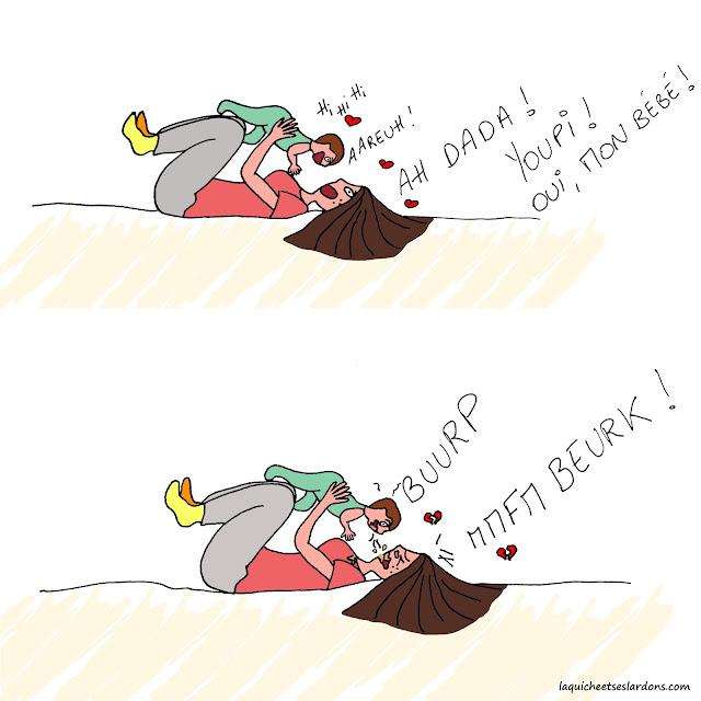 Dessin illustration maman bébé vomi jeu humour bd bouche beurk