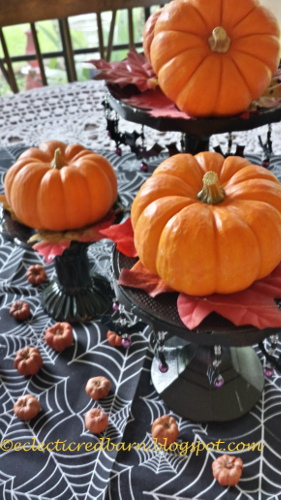 Eclectic Red Barn: Candlesticks with small pumpkins