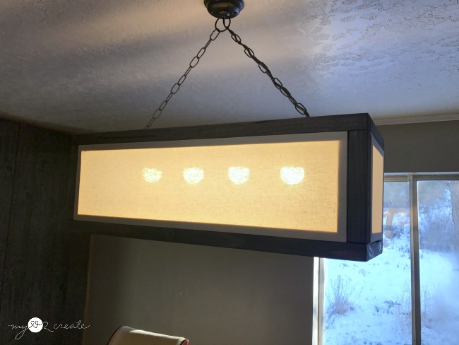 light on in DIY Rectangle Chandelier, MyLove2Create