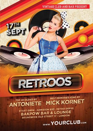 Retro Party Free Psd Flyer Template Download Free Flyer Templates