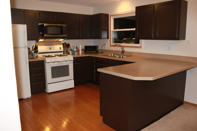 dark brown painted kitchen cabinets with white wall colors
