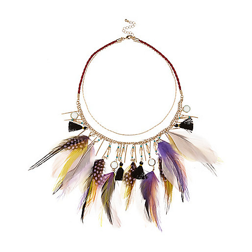 The Best Jewellery Buys from the High Street this SS16 - River Island - Purple feather bib necklace - £25.00