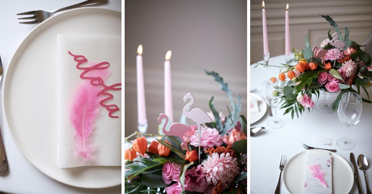 Motyw flaminga na ślubie i weselu