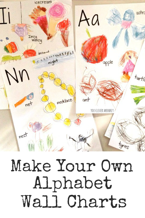 How to Make Your Own Alphabet Wall Charts - add meaning to your classroom by making your own alphabet wall charts for display or turn the hand-drawn artwork into an alphabet book to share | you clever monkey