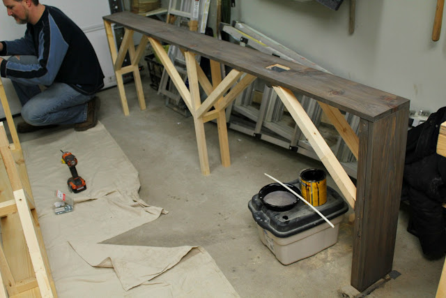 DIY sofa table - cerusing