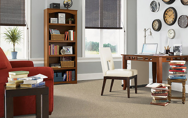This office area is made more comfortable with carpet