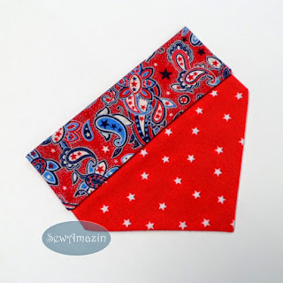 Red Paisley Patriotic Dog Bandana, over the collar