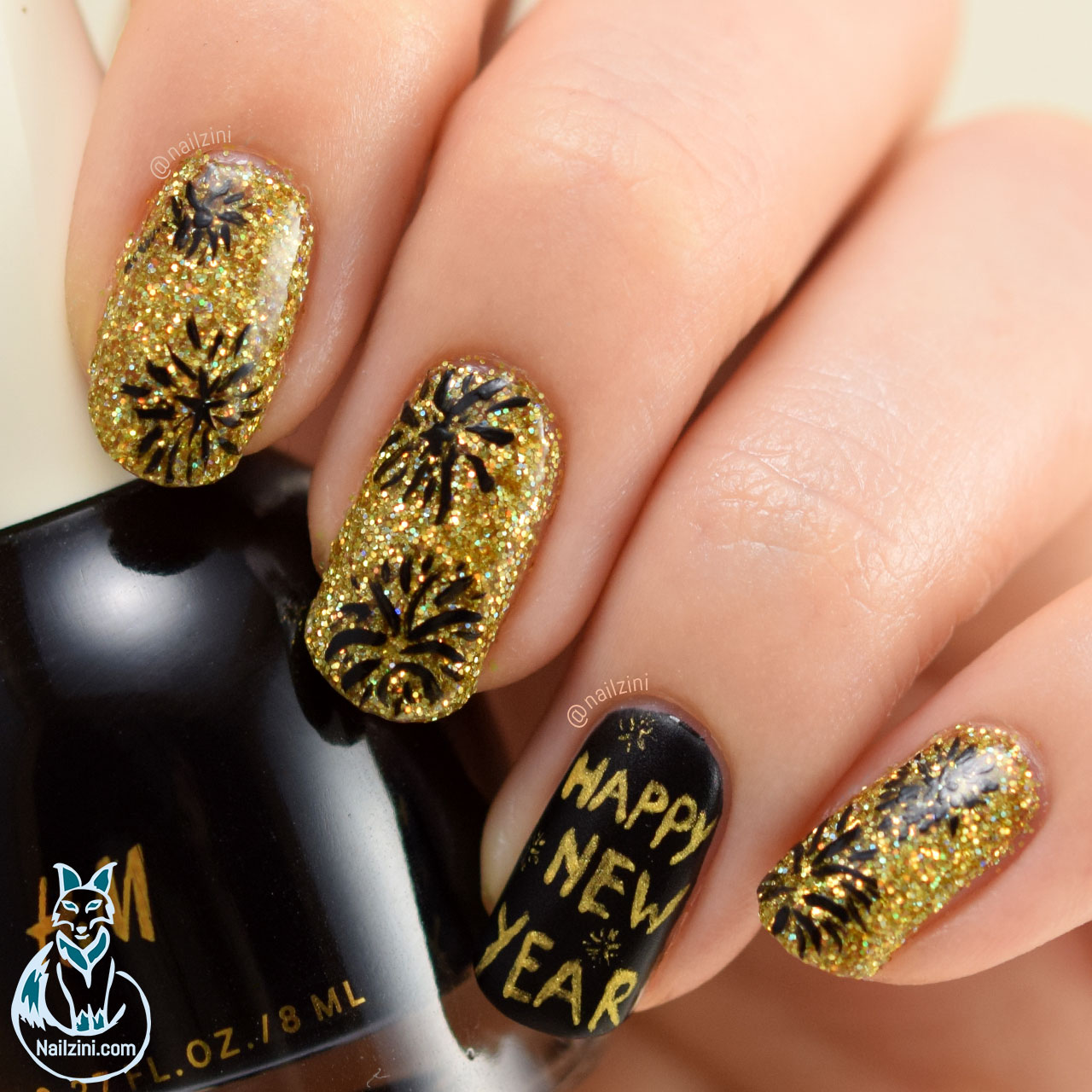Holographic New Year Fireworks Nail Art Nailzini