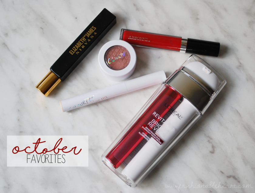 bbloggers, bbloggersca, canadian beauty bloggers, sponsor, beautiful beakers, elizabeth and james nirvana black, colourpop wattles, arbonne cardinal lip gloss, sculting stix, gummy bear, loreal revitalift, bright reveal, dual overnight moisturizer, favorites