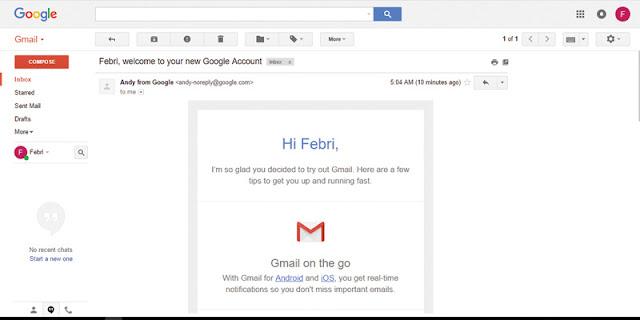 Email Pertama Kali Pada Akun Gmail Baru Anda