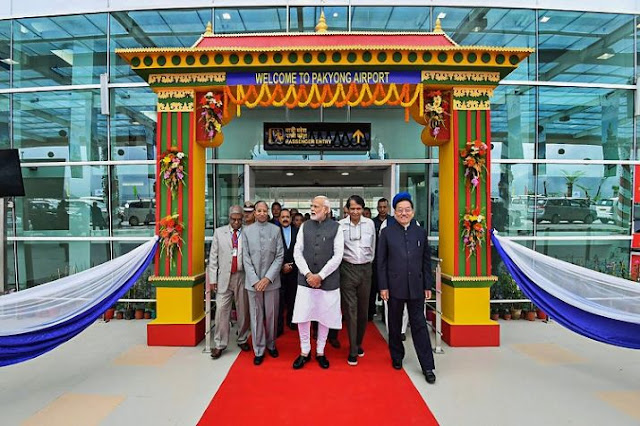 Prime Minister Narendra Modi inaugurates sikkim first airport in Pakyong