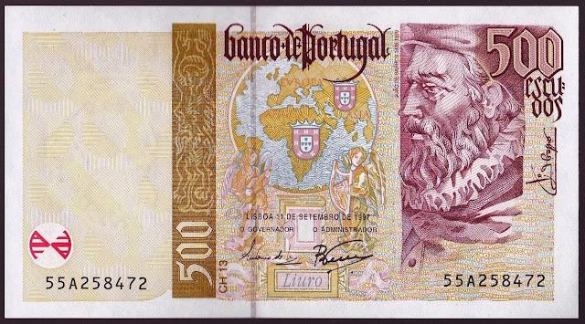 Portugal Banknotes 500 Escudos banknote 1997 João de Barros
