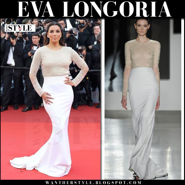 Eva Longoria in long sleeve cream and white gown pamella roland red carpet cannes 2016
