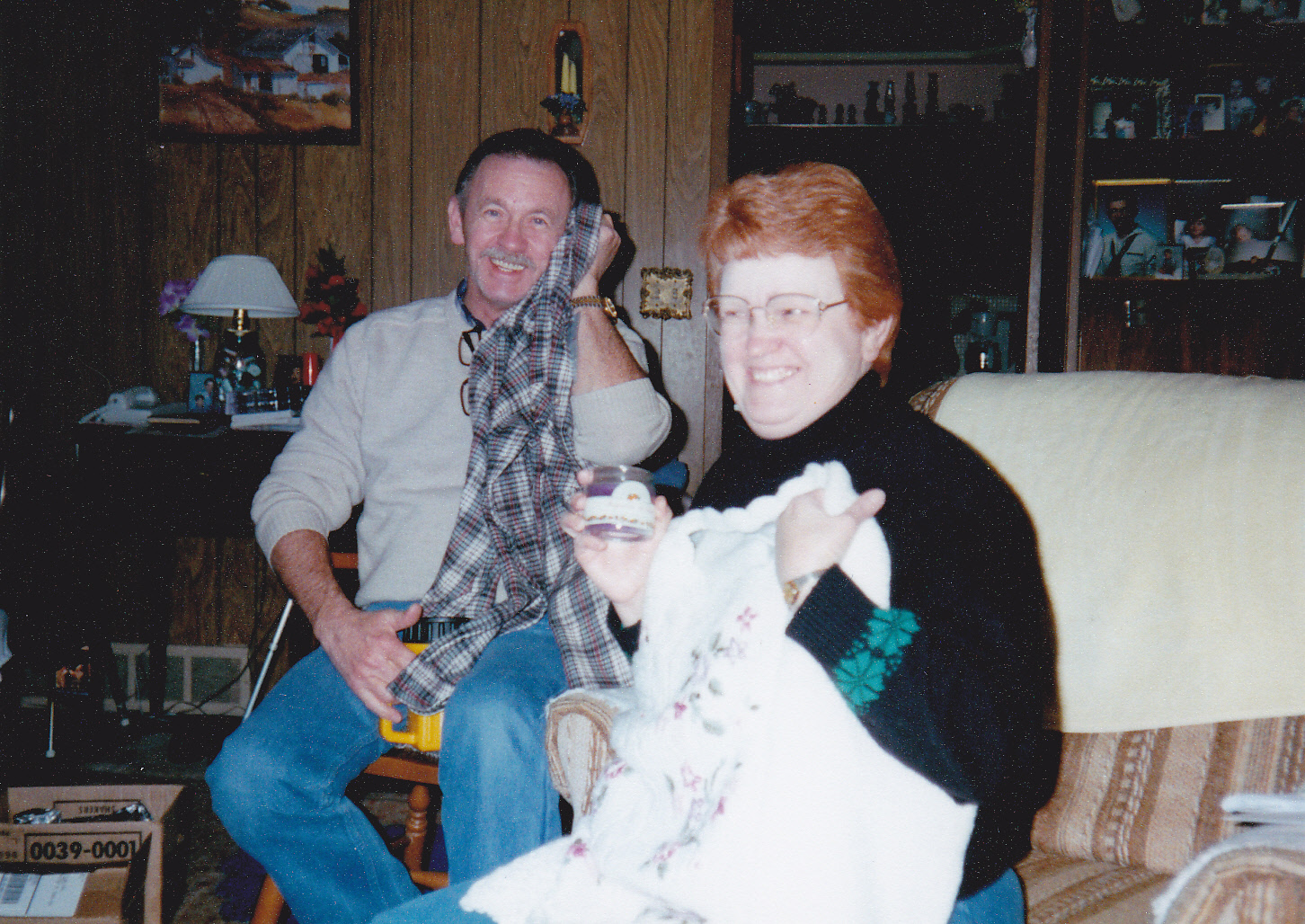 the happy soon to be grandparents for the 5th time - A Christmas Memory 1997