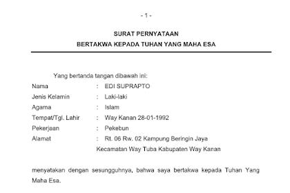 Contoh Surat Pernyataan Bertakwa Kepada Tuhan