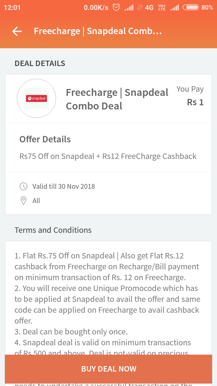 Freecharge Offer :- Get ₹12 Recharge @ ₹1 , Freecharge New