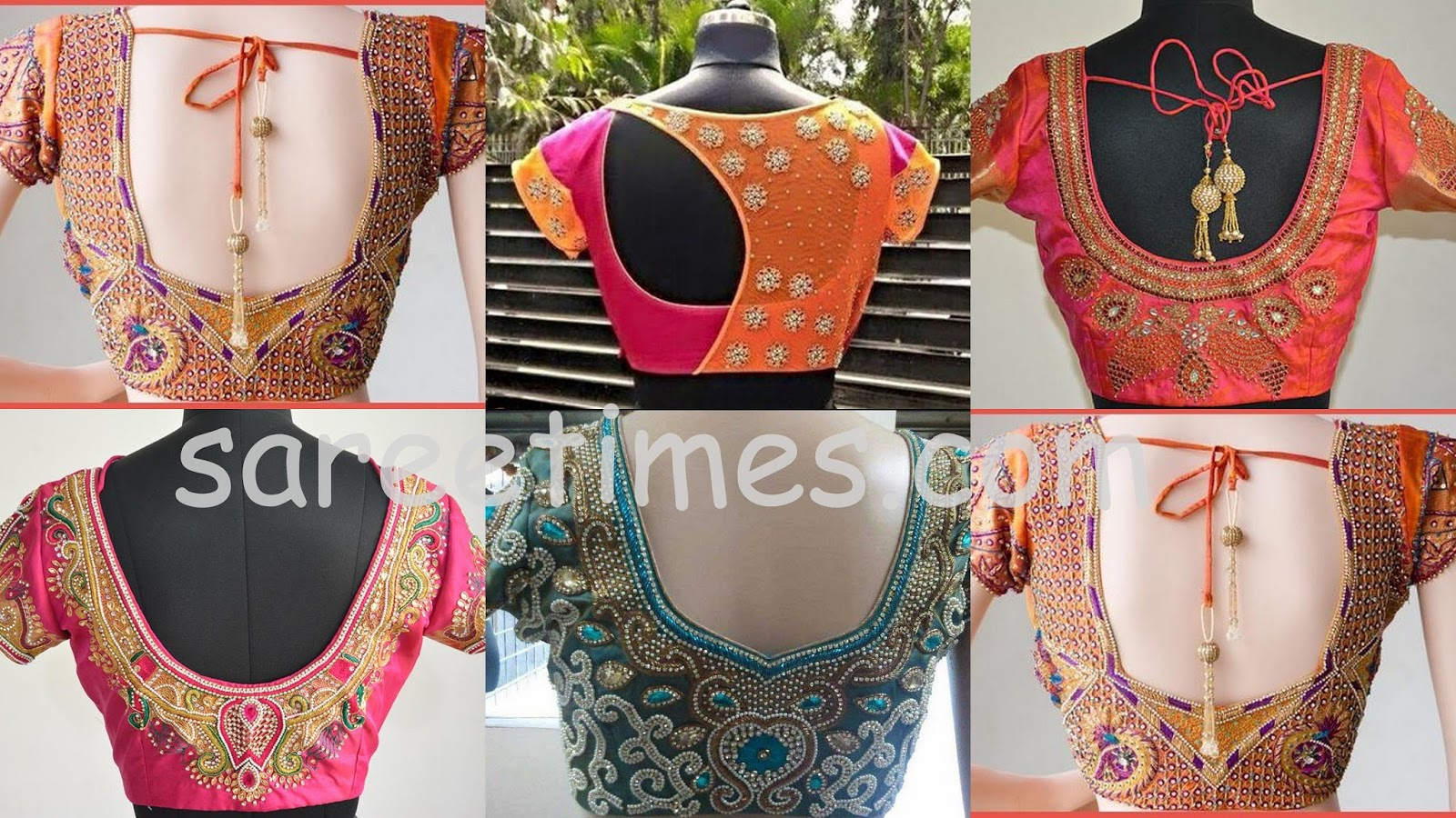 Blouse Stand Neck Designs : Stylish and trendy saree blouse back designs sareetimes