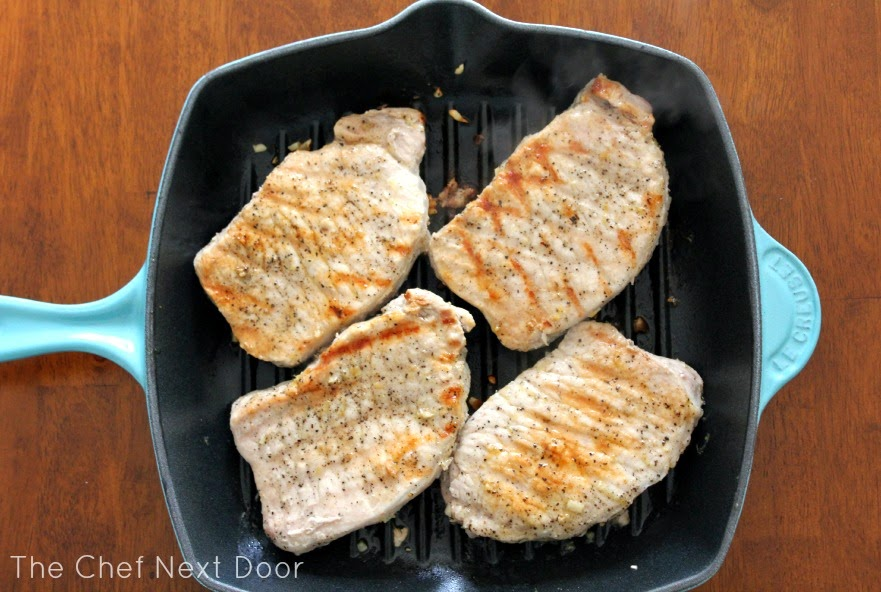 Pan Grilled Lemon Garlic Pork Chops | The Chef Next Door