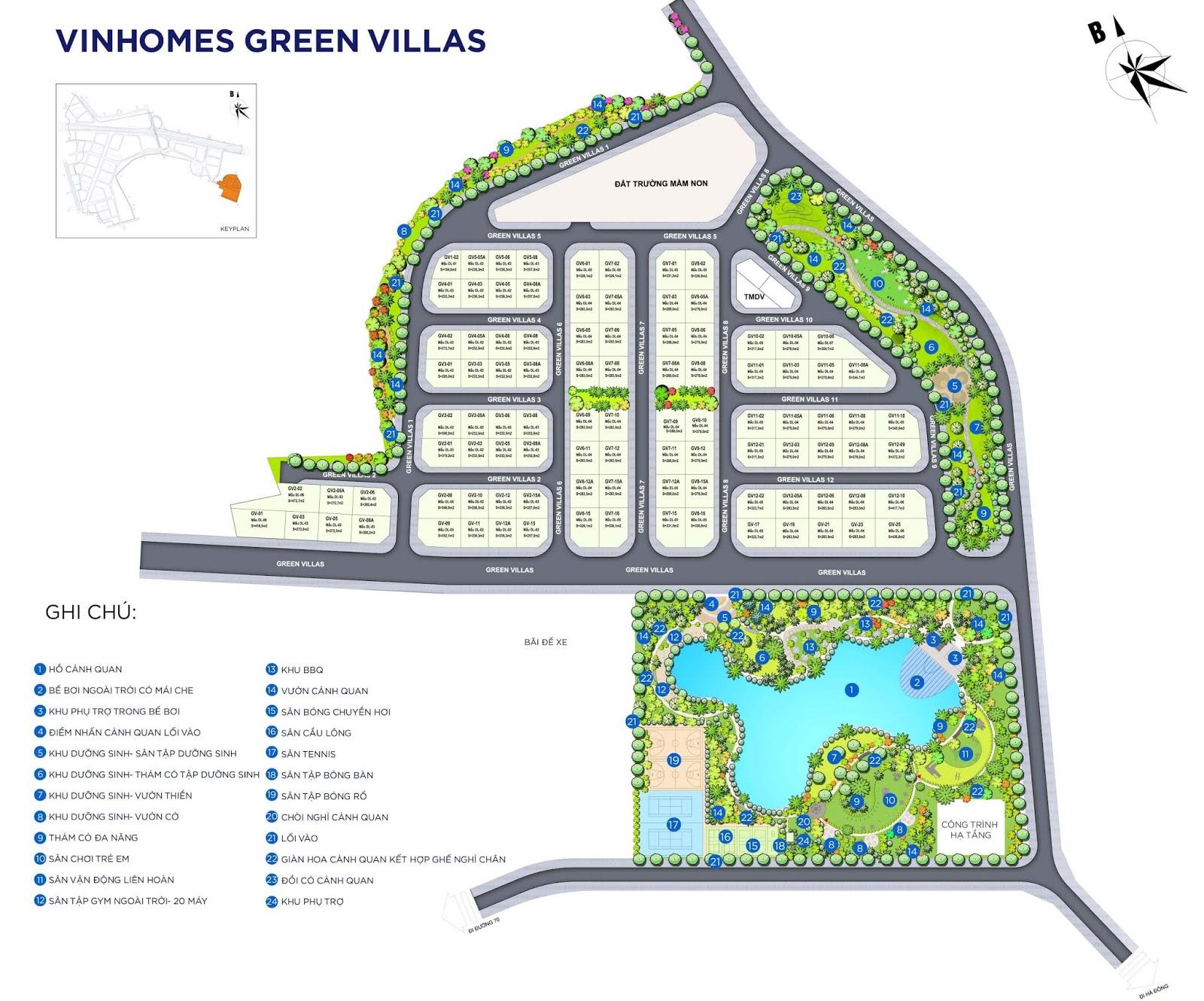 Mặt bằng điển hình Vinhomes Green Villas