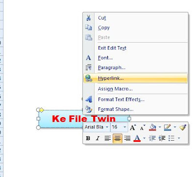membuat link untuk antar file di excel dengan menggunakana hyperlink sebagai menu menuju file lain