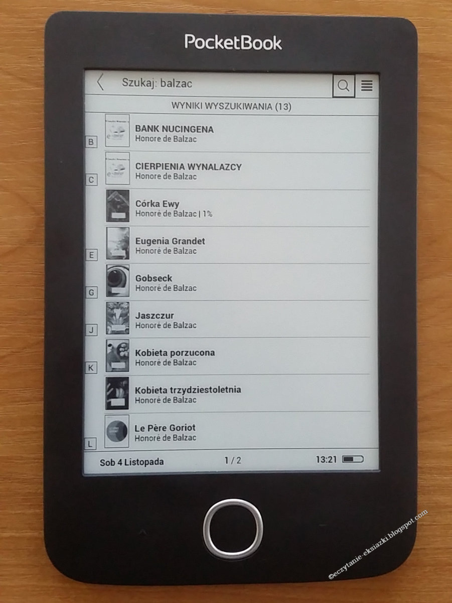 Wyniki wyszukiwania w bibliotece czytnika PocketBook Basic 3 po nazwisku autora
