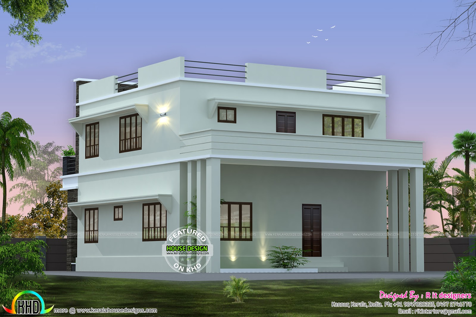 Front side and back view of box model home kerala home for Building houses with side views
