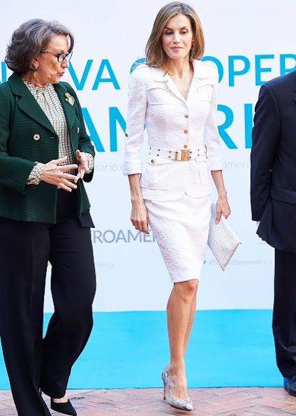 Queen Letizia wore Felipe Varela dress, and Magrit Snake Leather shoes, and carried Uterque snake handbag