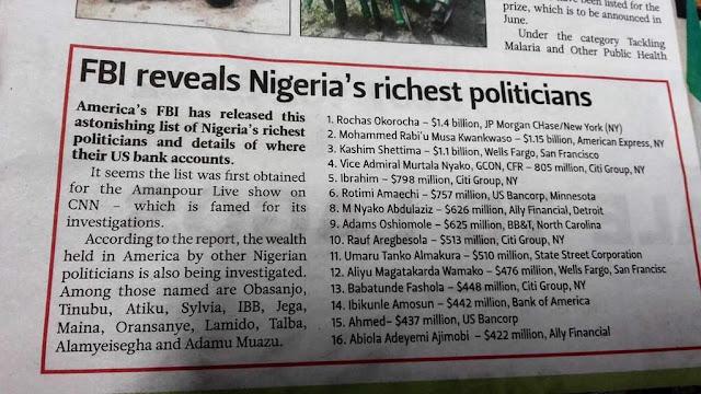 nigerian richest politicians revealed